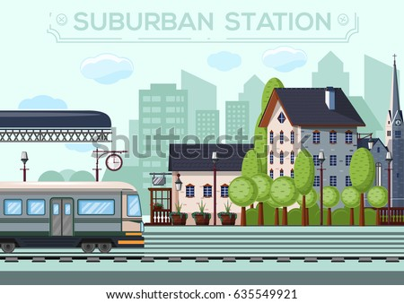 Suburban Station. City life design. Small railway station in a European city. Vector illustration