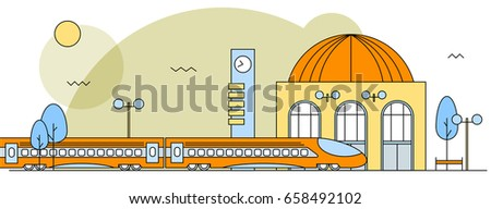 Suburban train station flat design illustration. Railway design concept