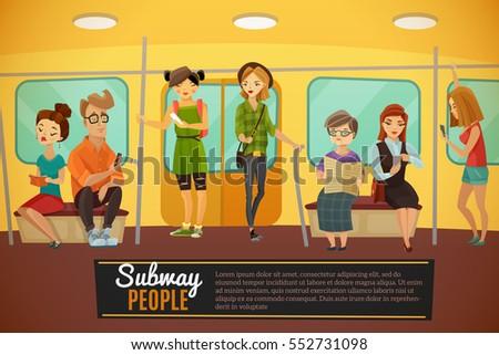 Subway background with underground train people and activity symbols flat vector illustration