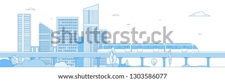Subway cityscape. Monorail metro train in megapolis futuristic panorama. Underground transportation vector line concept