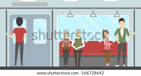 Subway interior set. In train. Seats and windows and rails.