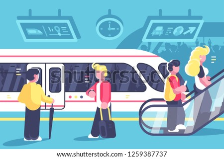 Subway interior with people train and escalator. Station with metro train underground platform and moving staircase flat style concept vector illustration. Tube railway transport