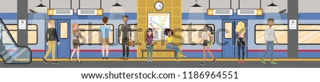Subway interior with train and railway. Passengers in metro with tickets, waiting for transport and sitting in the train. Vector flat illustration