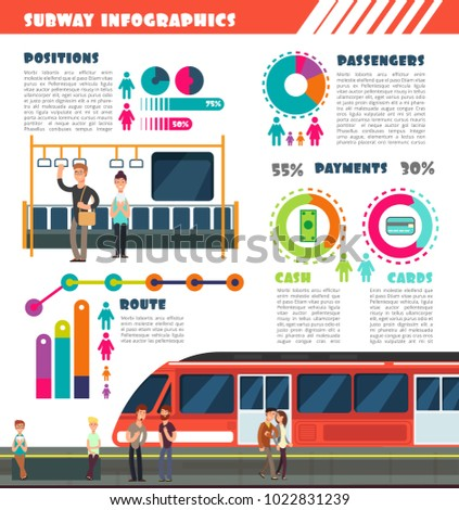 Subway, metro vector urban underground transport infographics with charts and data graphs. Illustration of train underground, subway urban infographic and statistic info