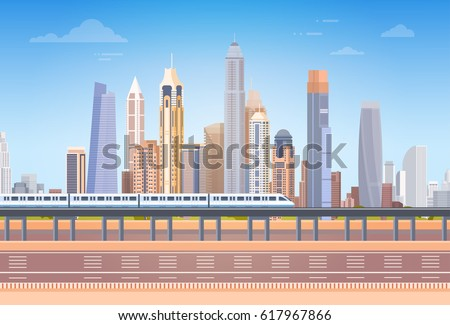 Subway Over City Skyscraper View Cityscape Background Skyline with Copy Space Vector Illustration
