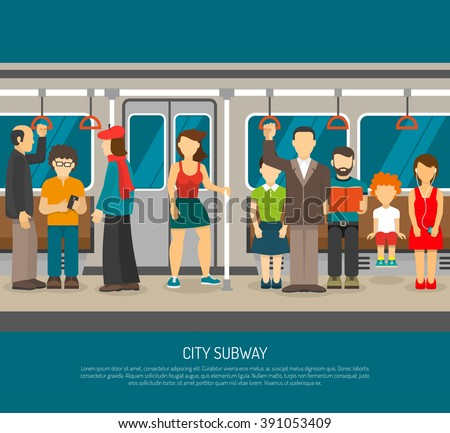 Subway poster of scene inside underground train carriage with crowd of sitting and standing passengers flat vector illustration