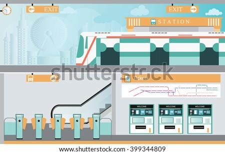 subway railway interior  train