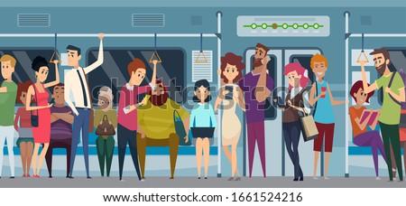 subway rush hour crowd in