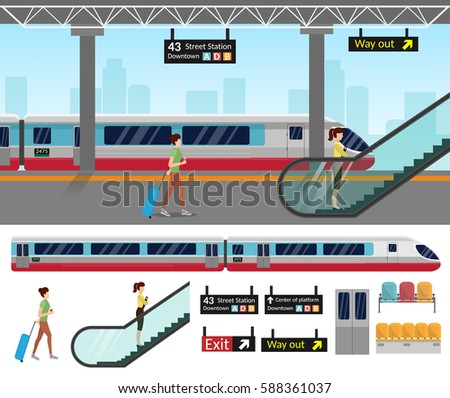 Subway station platform set with train and underground, inside the railway set.