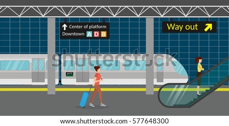 subway station platform set