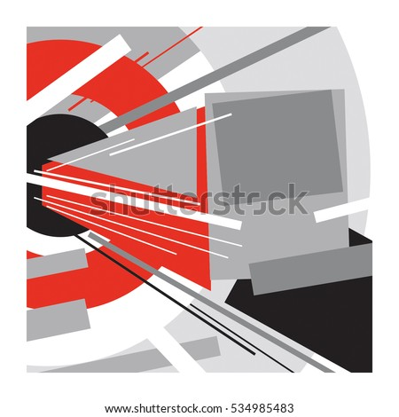 Subway train / Abstract geometric vector illustration / Suprematism art style