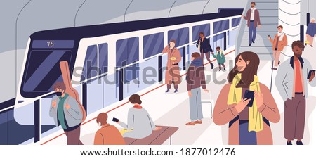 Subway train arriving at metro platform. Passengers standing and sitting in modern metro station. Male and female characters using urban public transport. Daily city life. Flat vector illustration Foto stock ©