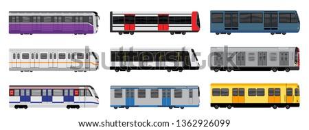 subway train icons set cartoon