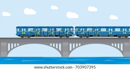 Subway train Metro on bridge. Flat Vector Illustration