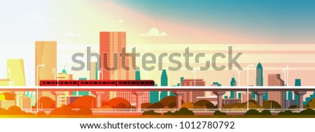 Subway Train Over Sunset IN Modern City Panorama With High Skyscrapers, Cityscape Background Horizontal Banner Flat Vector Illustration