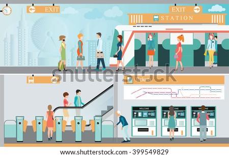 Subway train station platform with people traveling, Train ticket vending machines, Railway Map, Entrance of railway station, transportation vector illustration.