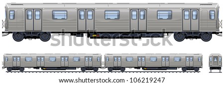 Subway train  (Train #12). Pixel optimized. Elements are in the separate layers. In the side, back and front views.