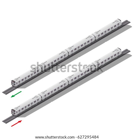 Subway trains in both directions isometric icon set vector graphic design