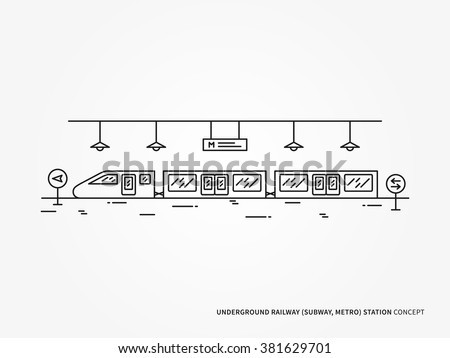 Subway (underground railway) station line vector illustration. Monorail (underground railway) station (train, railroad, platform) creative linear concept. Subway (underground railway) station design.