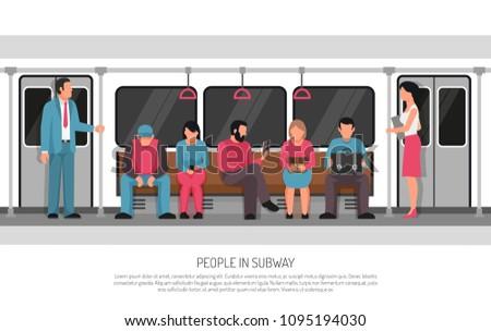Subway underground transportation flat poster header title with metro commuter rail system train car passengers vector illustration