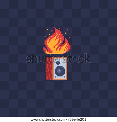 Subwoofer and fire. Pixel art stile icon. Video game 8-bit sprite. Flat stile logo. Isolated vector illustration. Symbol, logo, sticker design.