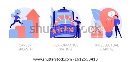 Success achievement icons set. Business promotion, user feedback, professional skills. Career growth, performance rating, intellectual capital metaphors. Vector isolated concept metaphor illustrations
