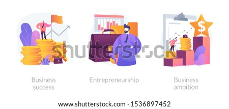 Success achievement icons set. Company leadership, profit growth, revenue increase. Business success, entrepreneurship, business ambition metaphors. Vector isolated concept metaphor illustrations