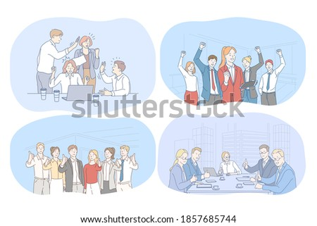 Success, agreement, business, negotiations, teamwork concept. Happy young business people partners cartoon characters showing thumb up sign after successful meeting, discussing business development  Foto d'archivio ©