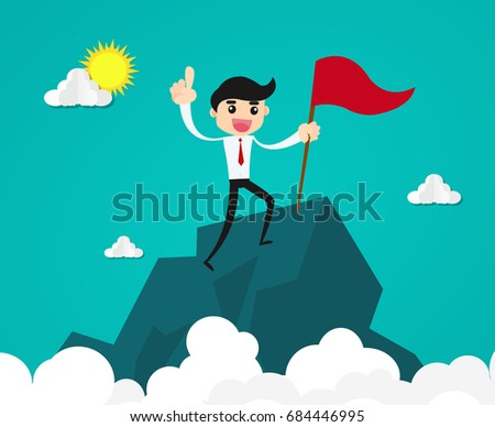 Success and achievement concept.businessman with flag on mountain top .