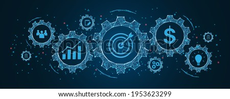 success and business target concept, project management, company strategy development in Cogs and gear wheel mechanisms concept. wireframe low polygonal blue mesh with dots, lines, and shapes. Foto d'archivio ©