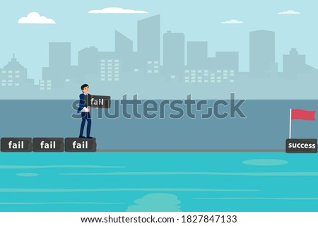 Success and failure vector concept: Businessman arrange his fail to be the way toward success flag on the sea Stock photo ©
