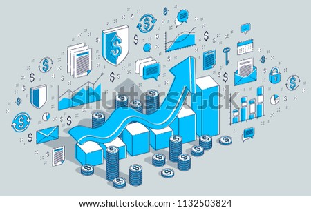 Success and income increase concept, growth chart stats bar with cash money stack isolated on white. Vector 3d isometric business illustration with icons, stats charts and design elements.