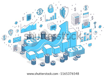 Success and income increase concept, growth chart stats bar with cash money stack isolated on white. 3d vector business isometric illustration with icons, stats charts and design elements. ストックフォト ©