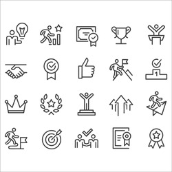 Success and Motivation Icons - Line Series stock illustration. Growth, Icon, Reaching, Aspirations, Award