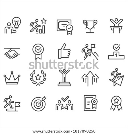 Success and Motivation Icons - Line Series stock illustration. Growth, Icon, Reaching, Aspirations, Award Сток-фото ©