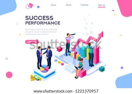 Success and motivation. Phone up with persons. Ambition as climb graph or achievement of goal. Consulting a commercial column as a step for career. Teach inspiration for high job performance. Vector