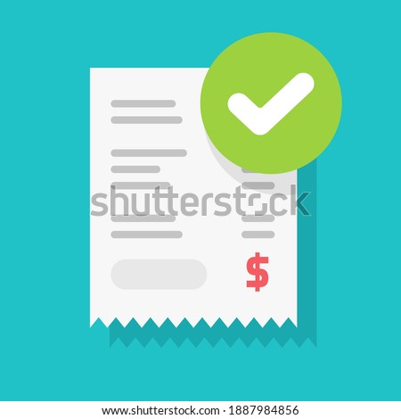 Success approved payment check mark notification on paper receipt bill invoice vector flat cartoon icon, valid verified notice checkmark on successfulpaid online, completed money transfer or purchase Foto stock ©