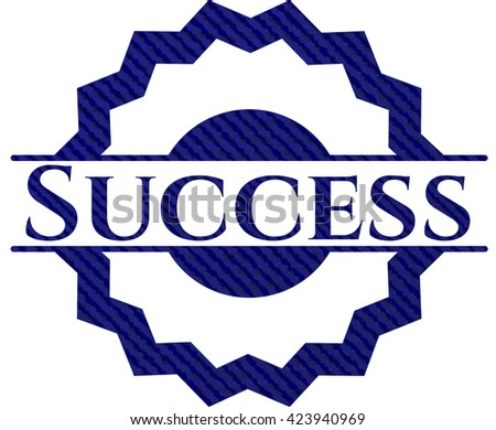 Success badge with jean texture