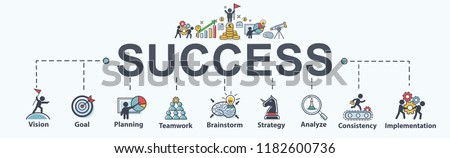success banner web icon set