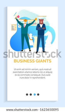 Success business giants vector leadership of best entrepreneurs in field, confident hipster businessman stands amid economic growth, tiger bear. Website or app slider template, landing page flat style