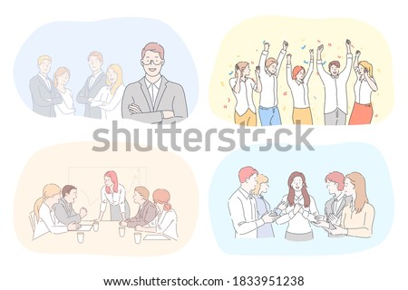 Success, business, leadership, coworking, meeting, partnership, brainstorming, communication, teamwork set. Teams of businessmen women coworkers celebrating victory managers working together in office