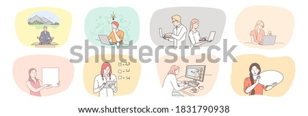 Success, business, meeting, partnership, brainstorming, meditation, communication, teamwork set. Collection businessmen women managers working together planning strategy or checklist practicing yoga.