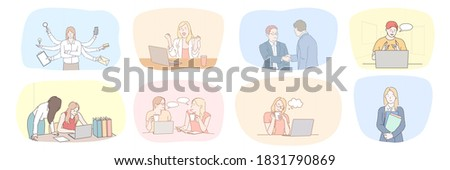 Success, business, meeting, partnership, greeting, multitasking, communication, teamwork set concept. Collection of businessmen women clerks managers working together making deal talking in office.