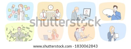 Success, business, profit, plan, time management, communication, wealth, teamwork set concept. Collection of businessmen women clerks managers work together in office planning strategy talking online.