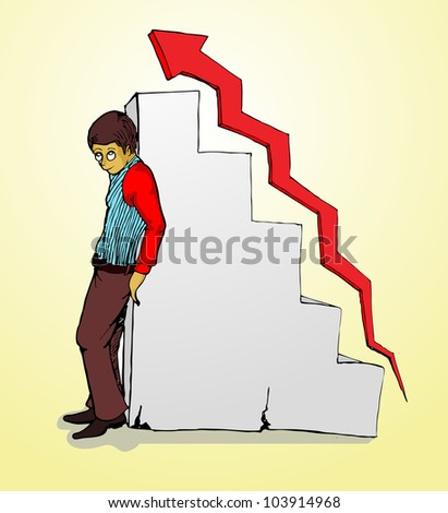 success businessman standing, behind wall of the growing arrow
