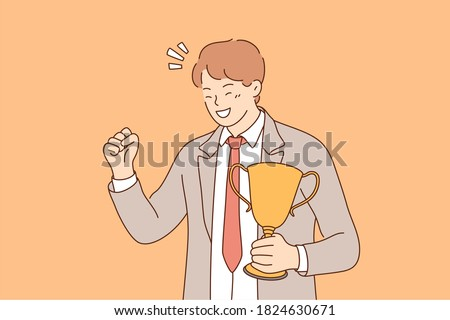 Success, celebration, win, goal achievement, business concept. Happy smiling young businessman clerk leader stands with cup, celebrating victory. Reaching purposes and winning competition illustration
