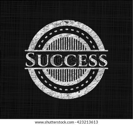 Success chalk emblem, retro style, chalk or chalkboard texture