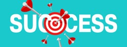 Success concept - business strategy and targeting success - bull`s eye hit in archery, target and flying arrows - vector banner