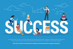 Success concept illustration of young people having the workshop and brainstorming for new brand to achieve successful business result. Flat design of guys and women sitting on big letters and working