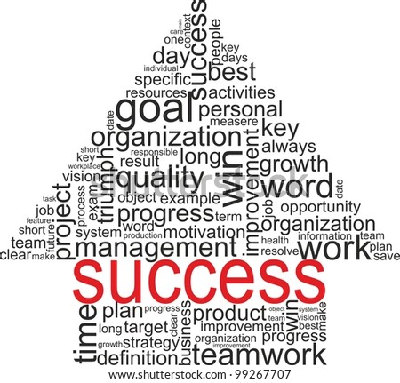 Success concept related words in tag cloud isolated on white. Arrow up with different association terms.